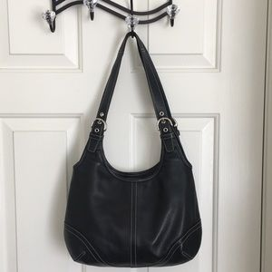 Coach classic black leather bag